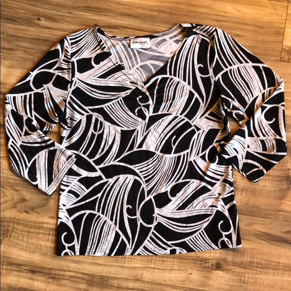 Claudia Richard Tops - Black and white blouse
